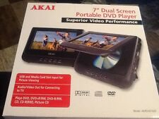 "NEW AKAI 7"" DUAL SCREEN PORTABLE DVD CD PLAYER 12 VOLT AC DC POWER  car DVD play"