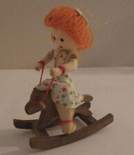 """Girl on Rocking Horse Wood Wooden Christmas Tree Ornament 4"""""""