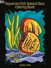 ADULT COLORING BOOK ~ AQUARIUM FISH STAINED GLASS ~ PERFORATED PAGES FOR FRAMING