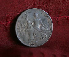 1916 France 5 Centimes Bronze World Coin KM842 Liberty Head Nice Details