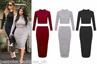 Ladies Women's Celeb Kim Polo Crop Top & Ruched Skirt 2 Piece Set 8-14