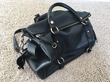 Black Genuine Leather Miu Miu-Style Bow Satchel