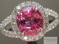 1.95ct Pink Cushion Cut Sapphire and Diamond Halo Ring R5367 Diamonds by Lauren