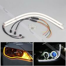 2x 30cm Flexible Soft Tube Car LED Strip White DRL&Amber Turn Signal Light #C3