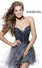 NWT $450 Sherri Hill Embellished Tulle Fit & Flare Dress 1403 Gunmetal 10 ReDuCE