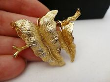 Stunning vintage Exquisite signed shimmering gold plated leaves on branch brooch