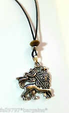 Silver Plate Rasta Lion Of Judah Pendant Beaded 27mm x 25mm Corded Necklace   d2