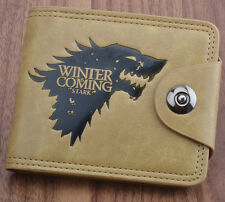 Game of Thrones Winter is Coming Coin Wallet Button Leather Zipper Purse Otaku