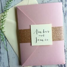 1 x 'Amber-pink' pocket wedding invitation/RSVP/menu sample - gold glitter wrap
