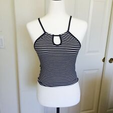 brandy melville Blue/white Stripe Ribbed tie back Caprice  halter cami top NWT
