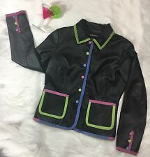 WOMENS METRO STYLE BLACK LEATHER JACKET Sz 10 Colorful Suede Trim Buttons Funky