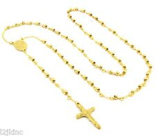 "Mens and Ladies Stainless Steel Gold 30"" Rosary Necklace 4mm Round Beads"