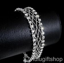 18K WHITE GOLD PLATED DIAMANTE PARTY PROM BANGLE BRACELET USE SWAROVSKI CRYSTALS
