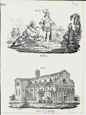 1837ca TEMPO S. AGOSTINO PADOVA - INDIANI 2 lito Magazzino Pittorico Universale