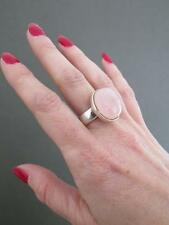 Vintage Sterling Silver Rose Quartz Crystal Modernist Ring