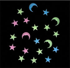 20 Piece Little Star Moon sticker Luminous Fluorescent Wall Art / party Deco