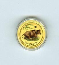 AUSTRALIA 2009 $5 YEAR OF THE OX COLORIZED 1/20 .9999 GOLD GEM BU