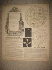 ANTIQUE 1864 ASTRONOMY ASTROLOGY SOLAR SYSTEM CONSTELLATION SCIENCE HNDCLR PRINT