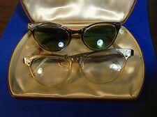 2PR Vintage Styl-Rite Horn Rimmed Eyeglasses 5.5 aluminum made in USA cats eye