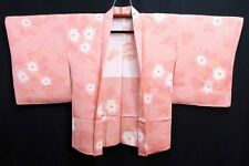 UNUSED Japanese Ladies' Soft Pink Abstract Camellias Kimono Haori Eve Jacket M/L