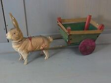 X32 * Bunny Rabbit Antique Paper Mache Candy Container & Wood Cart german 1900´s