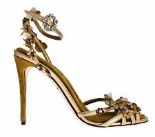 NEW DOLCE & GABBANA Gold Leather Floral Crystal Ankle Stiletto Shoes EU36.5 /US6