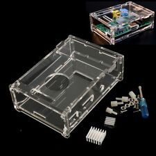 Transparent Clear Acrylic Case Box+2* Heatsink for Raspberry Pi Model B+ +Screws