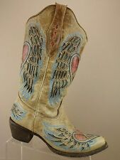 Corral Vintage Distressed Brown Leather Peace Heart Wing Cowboy Boot Women 9.5 M