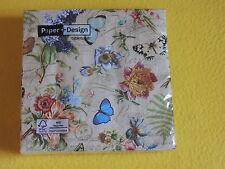 1 Packung 20 Servietten Vintage SUMMER Schmetterlinge Blumen Schrift Paper Desig