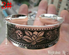 New Tibetan Tibet silver Chinese Totem Wide Bangle Cuff Bracelet