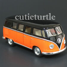Kinsmart 1962 VW Volkswagen Classic Bus Samba 1:32 Diecast Toy Car Black Orange