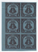 US Sc. REA86 SUPER RARE 1909 .50 CENT HALF BARREL PRINTERS INITIAL BLK OF 6 MNH