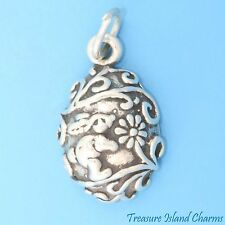 EASTER EGG with BUNNY and FLOWERS .925 Sterling Silver Charm