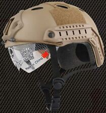 AIRSOFT PJ TYPE OPS FAST BASE JUMP HELMET + VISOR TAN SAND DE ARC RAILS