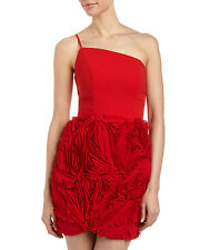 NWT $350 Alberto Makali Size 8 One-Shoulder Rosette Red Short Dress