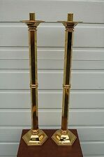 """+ Pair of Polished Brass Altar Candlesticks + 30 1/2"""" ht. + (#813) + chalice co."""