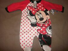 Disney Minnie Mouse Baby Sleeper/Footed Pajamas-Red/White-3/6 Months-New!