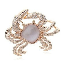 GORGEOUS 18K ROSE GOLD PLATED AND GENUINE AUSTRIAN CRYSTAL CRAB BROOCH