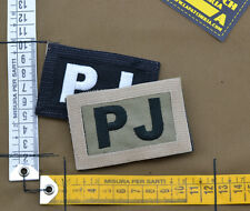 """Ricamata / Embroidered Patch Reversible """"PJ"""" with VELCRO® brand hook"""
