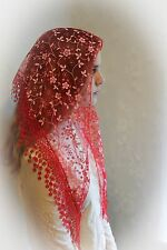 NEW Classic Mantilla Red Embroidered Chapel Veil Triangle Free Shipping