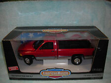 1/18 1995 DODGE RAM 2500 3/4 TON SLT P/U IN REDSILVER BY ERTL AMERICAN MUSCLE .
