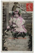 Carte postale ancienne | Bébé | Tas de neige  | Bonne année | 1922
