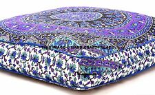Elephant Mandala Cotton Floor Cushion Pillow Cover Indian Square Pet Dog Bed 35""