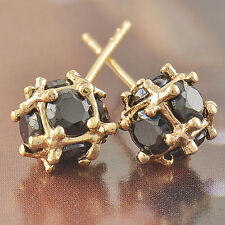 Statement Stunning Solid Gold Filled Black Onyx Ladies Megic-Ball Stud earing