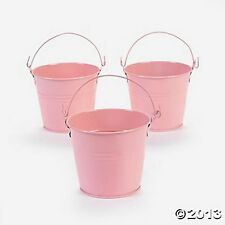 POWDER PINK COLORED TIN PAILS BUCKETS NEW (LOT OF 12) HUGE LOT