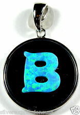 """.925 Sterling Silver Monogram Pendant with Carved Blue Fire Opal """"B"""" Initials"""