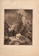 ANTIQUE MILITARY PRINT ~ 1199 SIEIGE OF CHALUZ ~ RICHARD I SEAL CROSSBOW