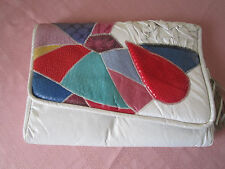 VINTAGE 1980'S M&A HANDBAGS WHITE & MULTI-COLORED LEATHER CLUTCH BAG PURSE
