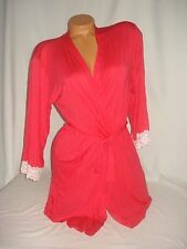 Body by Victoria Secret Sleepwear Lingerie Robe Red Ivory Lace Trim Sexy Medium