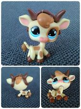 Littlest Pet Shop Tan Brown Spotted Cow Bull Horns  #970 Vache Cornes Taureau